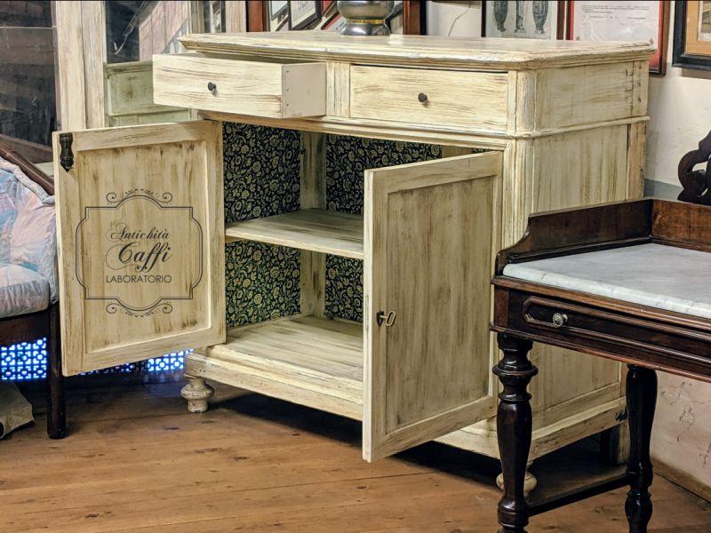 LABORATORIO ANTICHITÀ CAFFI offerta credenza in noce massello stile cappuccino pannelli ottocenteschi