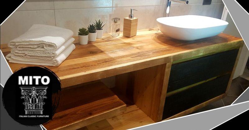 Offerta realizzazione arredo bagno artigianale - Occasione mobili bagno in legno invecchiato Verona