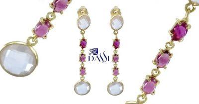 dassi gioielli occasione orecchini pendenti argento 925 dorato quarzi e tormaline rosa