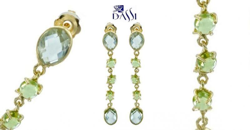 DASSI Gioielli - Offerta orecchini pendenti argento 925 dorato prasioliti quarzi peridoto verde