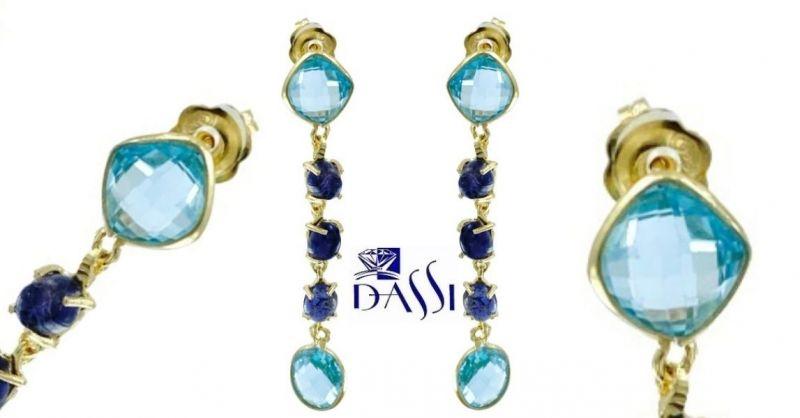 DASSI Gioielli - OFFERTA orecchini pendenti argento 925 dorato topazi azzurri ioliti Pezzi Unici
