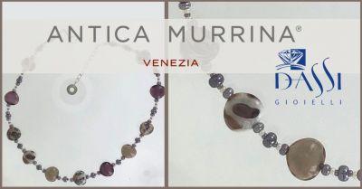 dassi gioielli girocollo filo di metallo e perle in vetro soffiato antica murrina lungo 43 cm