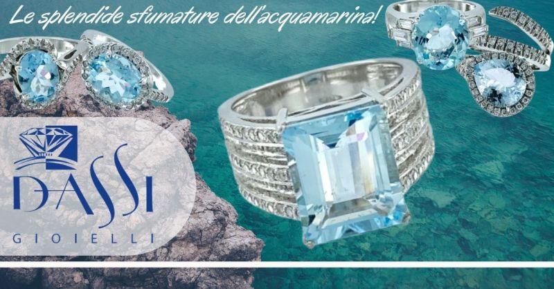 DASSI Gioielli - Occasione vendita online anelli oro bianco 18kt diamanti ed acquamarina
