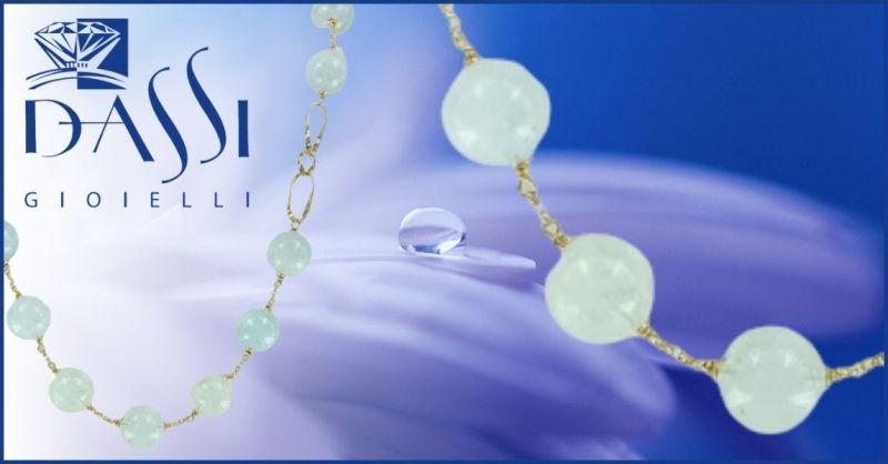 DASSI Gioielli - Offerta vendita online Girocollo in argento 925 dorato e acquamarina grezza