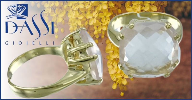 DASSI Gioielli - Offerta anello argento dorato grif a 8 con prezioso quarzo rosa sfaccettato