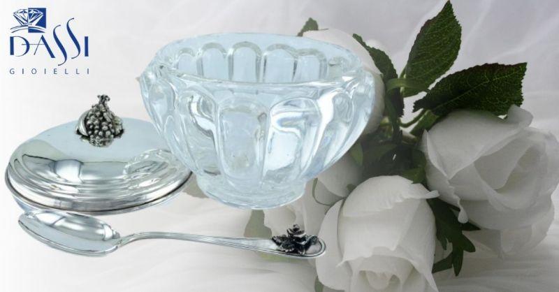 DASSI Gioielli - Occasione idea regalo zuccheriera in argento 925 bordo a sbalzi con cucchiaino
