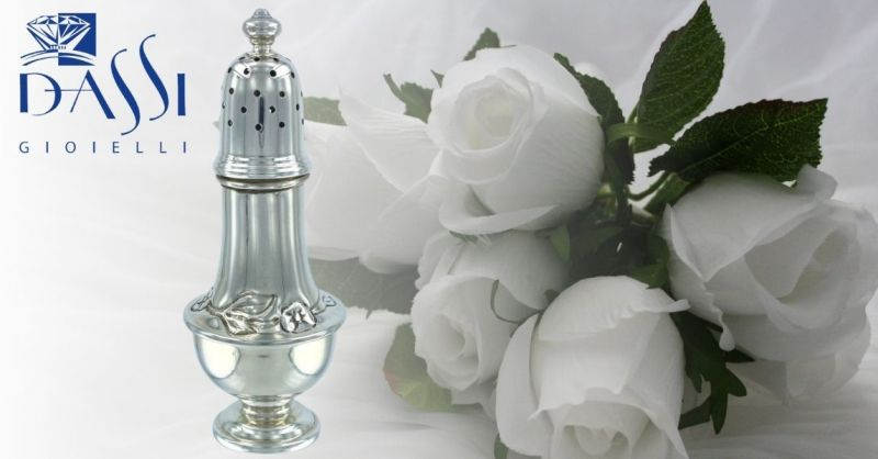 DASSI Gioielli - Offerta idee regalo cerimonia zuccheriera spargizucchero argento 800 cesellato