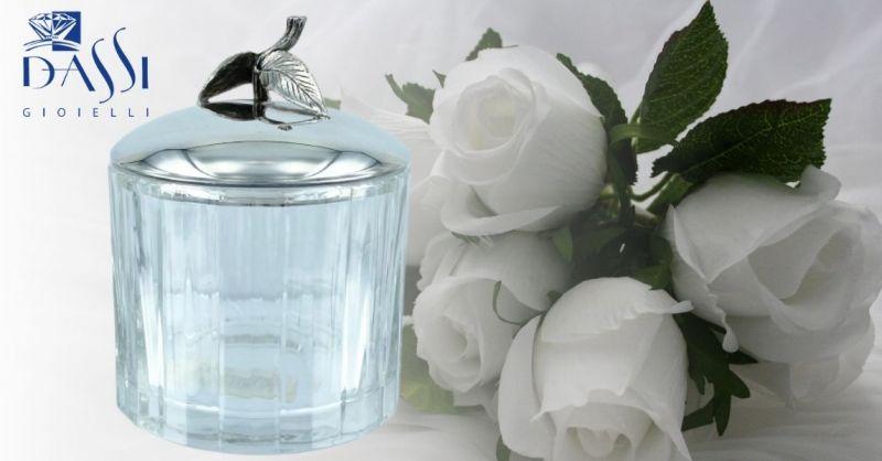 DASSI Gioielli - Occasione Zuccheriera in cristallo con coperchio in argento 925 decorato