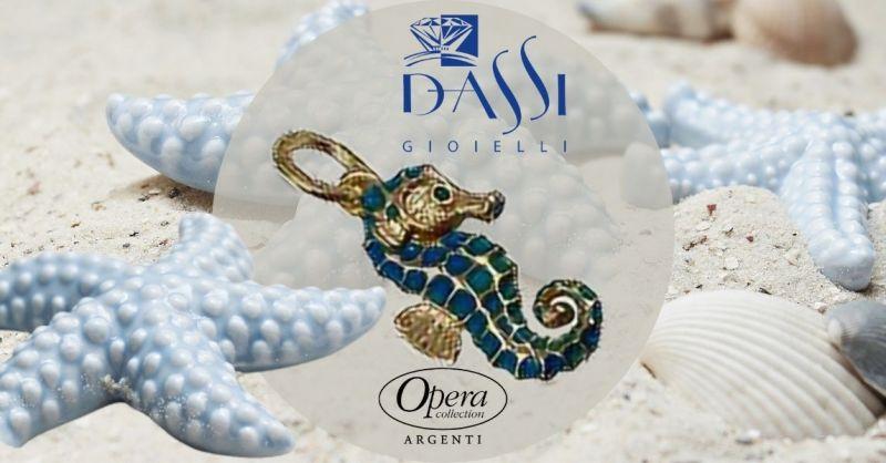 Occasione vendita online ciondolo in argento cavalluccio marino dorato smalto Opera collection