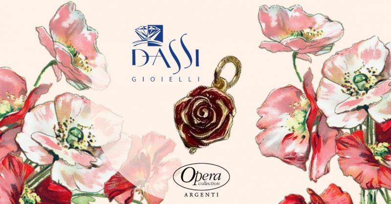 Offerta ciondolo argento a motivi floreali - Occasione ciondolo forma di rosa Opera collection