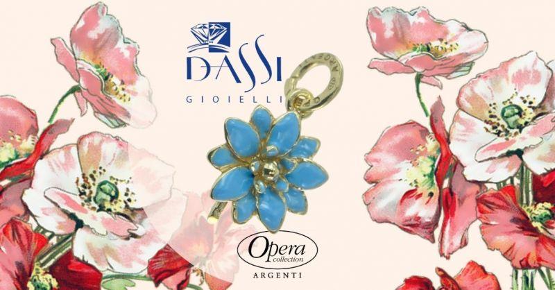 Promozione ciondolo in argento smaltato forma di fiore azzurro - Offerta online ciondolo argento