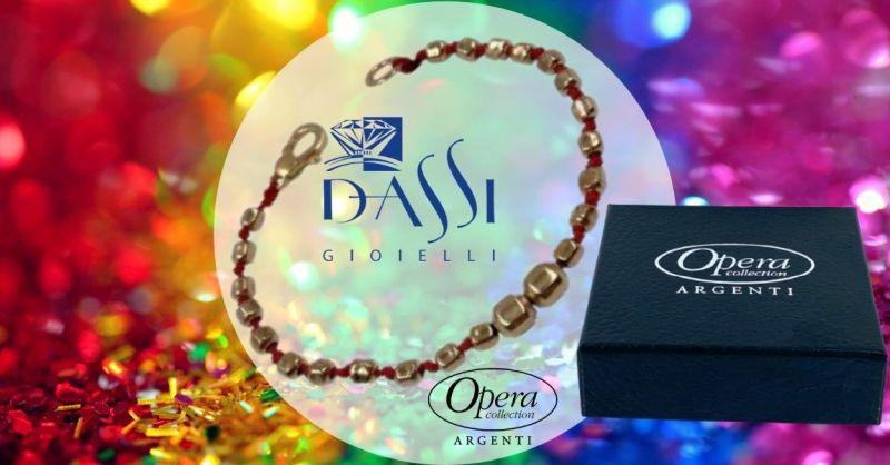 Promozione bracciale in argento 925 con pepite quadrate in filo rosso Opera collection Italy