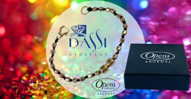 Promozione bracciale gioielli argento 925 dorato e cordino nero pepite quadrate Dassi Gioielli