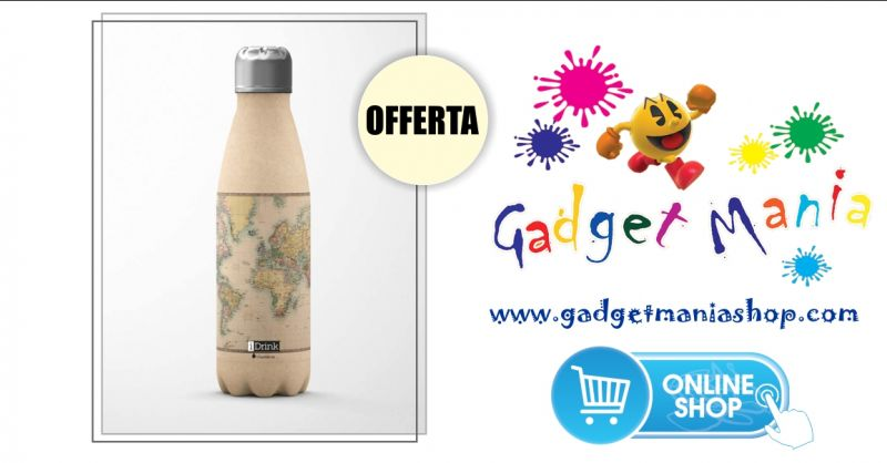 Gadget Mania Shop online - offerta borraccia termica in acciaio Idrink mappamondo 500 ml