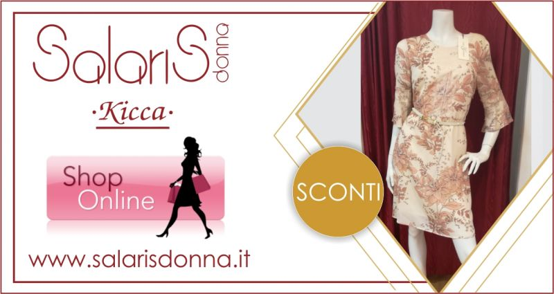 SALARIS DONNA -  offerta abito donna Corte dei Gonzaga con fantasia floreale rosa antico