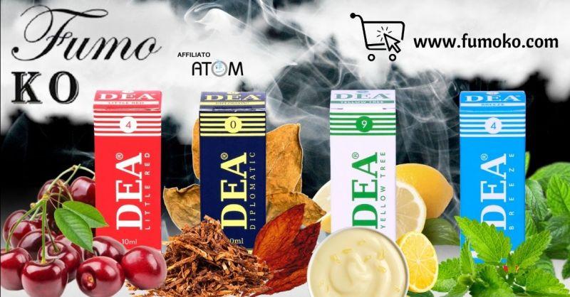 Promozione liquidi tabaccosi per sigaretta elettronica marchio DEA Trento - Offerta vendita aromi per sigarette