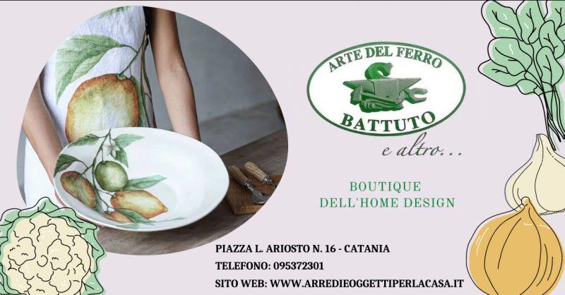 ARTE DEL FERRO BATTUTO E ALTRO - Offerta piatti ceramica con limoni Catania