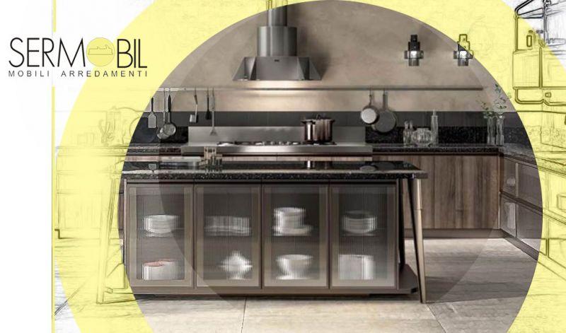 Offerta showroom di Cucine aperte con isola centrale Bergamo - Occasione Cucina con isola Diesel Open Workshop Scavolini Bergamo