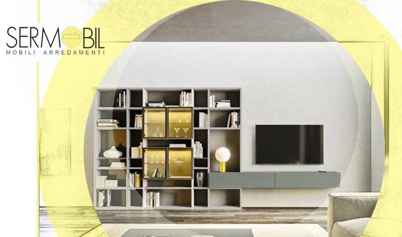 Offerta Parete soggiorno di design moderno Bergamo - Occasione Idee moderne per Parete soggiorno con libreria Bergamo