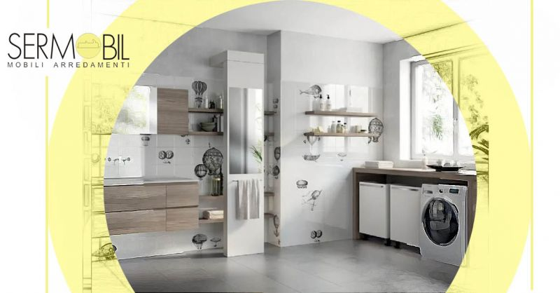 Offerta Arredo per spazio Lavanderia Bergamo - Occasione Mobile lavanderia con basi sospese Bergamo