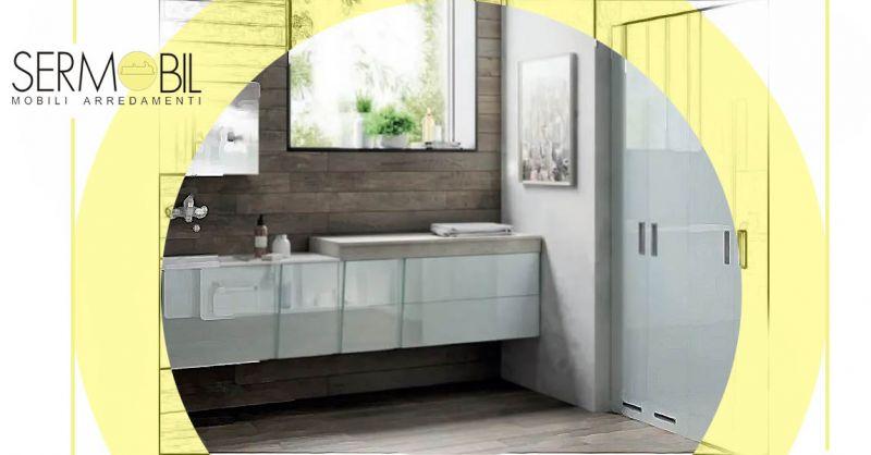 Offerta modelli di mobili bagno sospesi in laccato lucido - Occasione Arredo bagni in stile moderno Bergamo