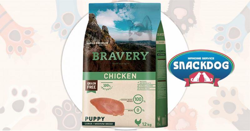 Snack Dog - offerta crocchette Bravery super premium grain free puppy chicken 12 kg