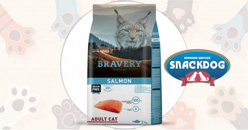 Snack Dog - offerta crocchette Bravery super premium grain free adult cat salmon 2 kg