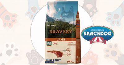 snack dog offerta crocchette bravery super premium grain free mini adult agnello 7 kg