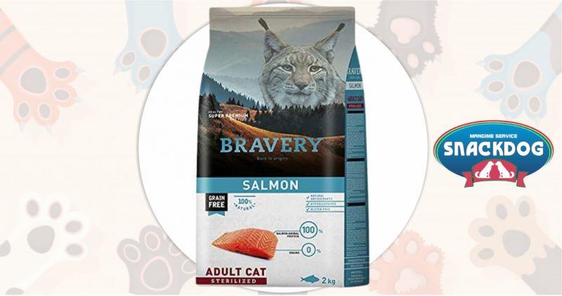 Snack Dog - offerta crocchette Bravery super premium grain free gatto sterilizzato adult salmone 2 kg