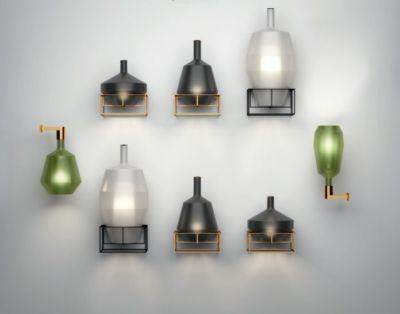 mom penta applique lampada in vetro borosilicato