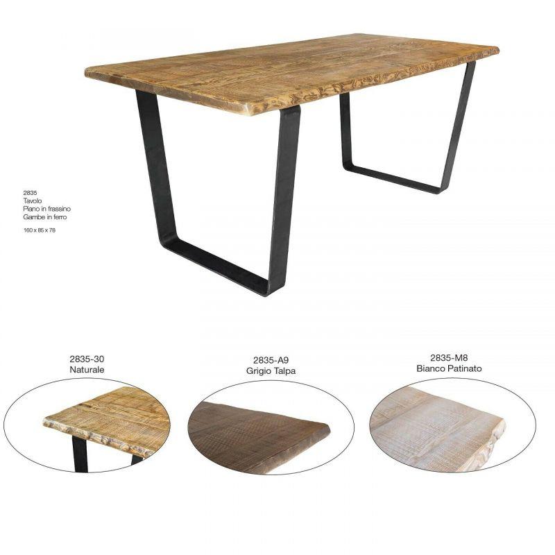 Tavolo con Gambe in ferro Piano in Frassino Tinta naturale 180 x 90 x 78 h