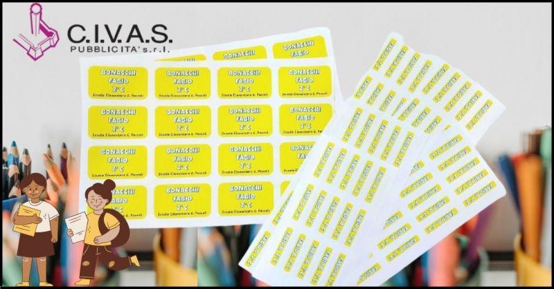 offerta etichette personalizzate per quaderni di scuola  - CIVAS