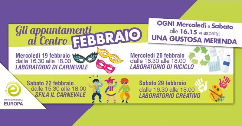 CENTRO COMMERCIALE EUROPA evento laboratorio di carnevale – eventi festa in maschera bambini 2020