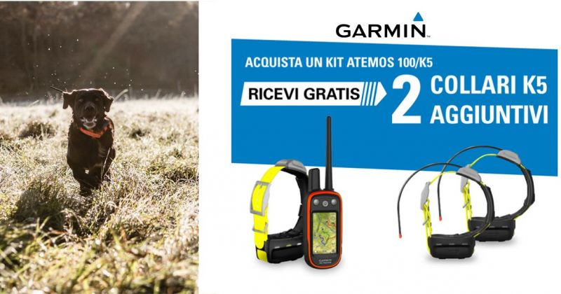 ARMERIA ALTAMAREA - offerta kit Garmin Atemos 100 K5 sistema gps cane da caccia
