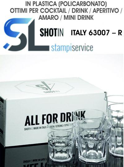 set di 6 bicchieri italy in plastica policarbonato
