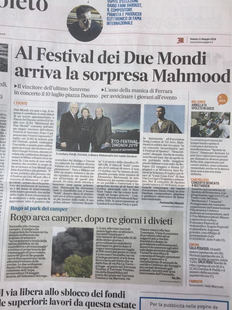 OFFERTA MUSICA FESTIVAL DUE MONDI 2019 - OCCASIONE CONCERTO MAHMOOD SPOLETO
