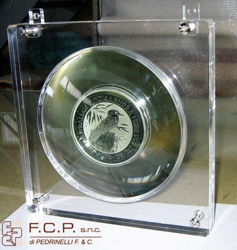 offerta cornice con lente concava-promozione moneta in argento di 11 cm