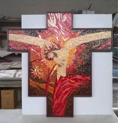 f c p offerta crocifisso in mosaico cornice in legno promo mosaico religioso con cornice