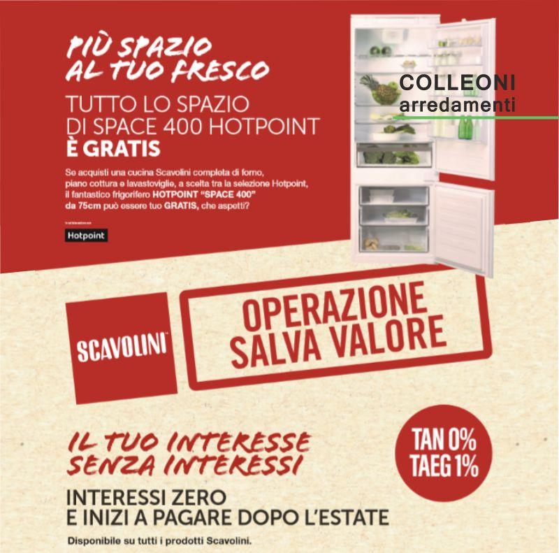 COLLEONI ARREDAMENTI offerta frigorifero gratis space 400 hotpoin – cucina interessi zero