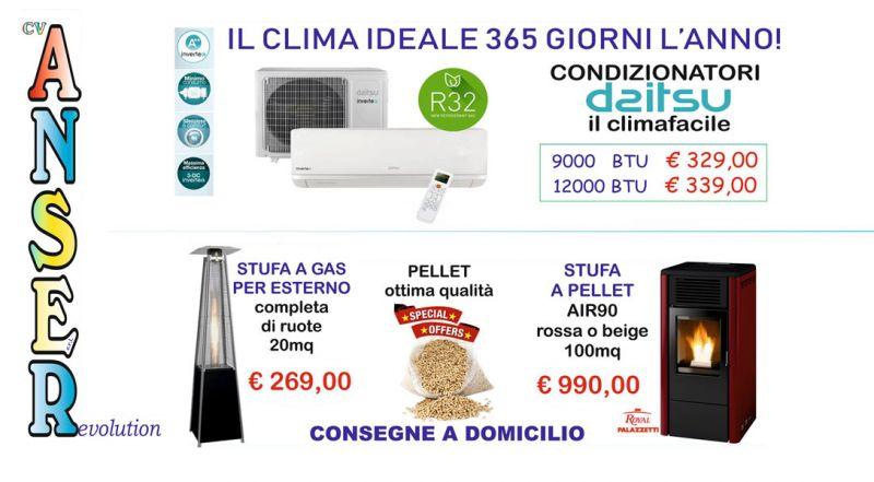 Offerta stufe a gas per esterno e stufe a pellet Cosenza – Promozione condizionatori Daitsu Cosenza