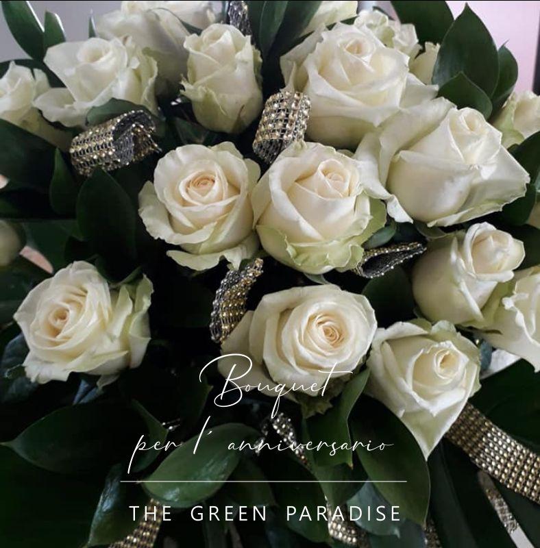 THE GREEN PARADISE offerta bouquet anniversari - mazzo di rose bianche promozione