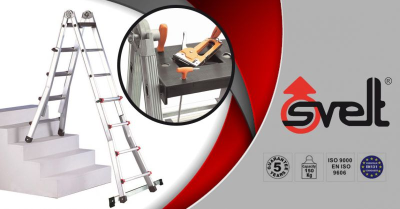 SVELT SPA - Ladder opportunity SCALISSIMA WITH EXTENDER Maximum height 4.10 m made in Italy