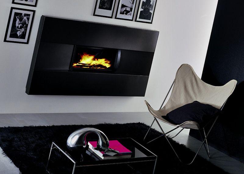 caminetto kingfire sedicinoni nero ventilato completo di rivestimento