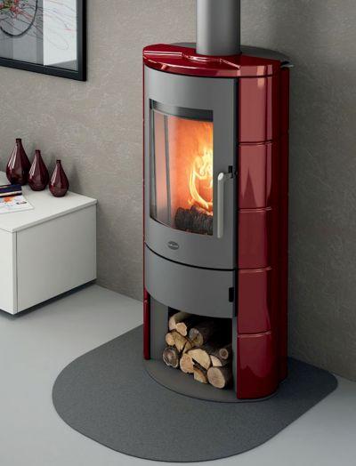 stufa a legna eva calor marica 8 kw rossa in maiolica
