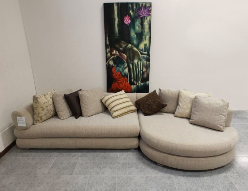 Offerta divano BIFLEX con penisola rotonda Padova - Occasione divano con chaise longue tonda Padova