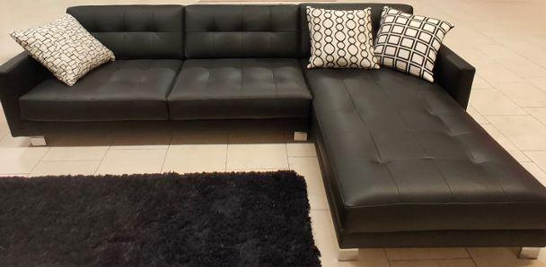 PROMOZIONE divano SALCON DIAMOND in pelle nera PADOVA