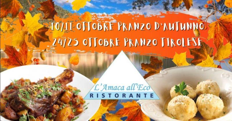 Offerta eventi pranzi autunnali lago di Piediluco - Occasione pranzo autunnale tirolese Terni