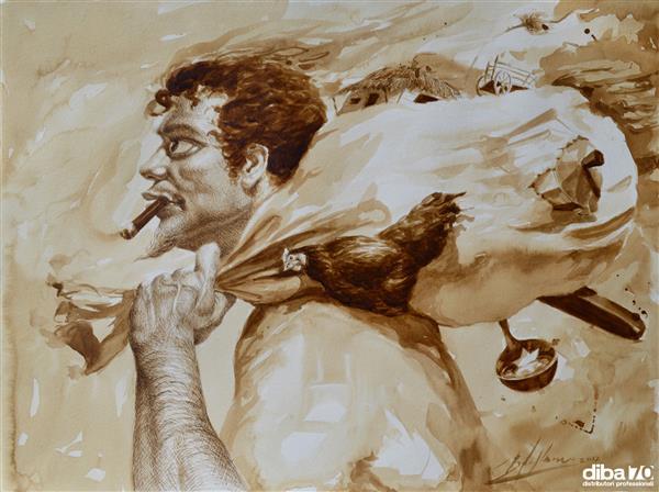 La pittura al caffè del cubano Reynier Llanes - Diba 70 distributori professionali, rassegna stampa