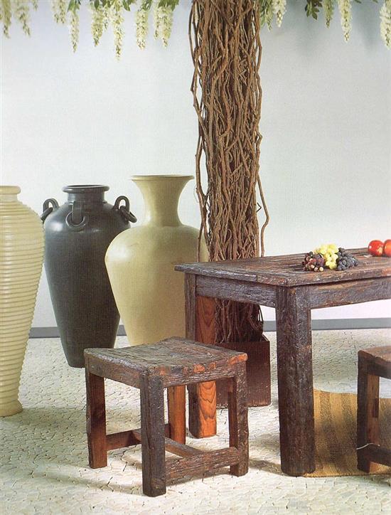 set tavolo 2 panche in legno indiano