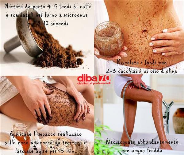 Fondi di caffè sulle gambe combattono la cellulite - Diba 70 distributori professionali, rassegna stampa